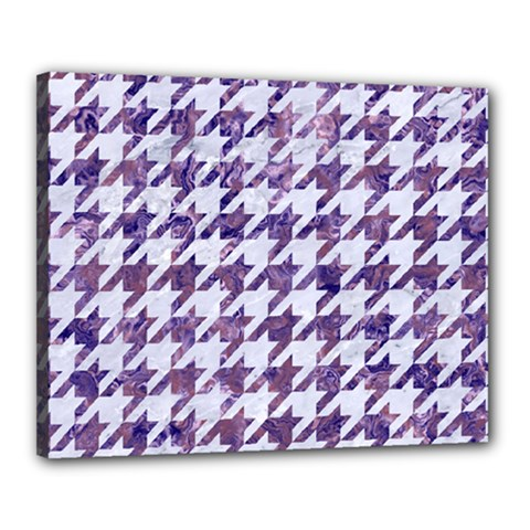 Houndstooth1 White Marble & Purple Marble Canvas 20  X 16  by trendistuff