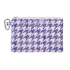 Houndstooth1 White Marble & Purple Marble Canvas Cosmetic Bag (large) by trendistuff