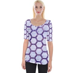 Hexagon2 White Marble & Purple Marble (r) Wide Neckline Tee by trendistuff