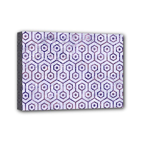 Hexagon1 White Marble & Purple Marble (r) Mini Canvas 7  X 5  by trendistuff
