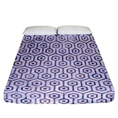 Hexagon1 White Marble & Purple Marble (r) Fitted Sheet (california King Size) by trendistuff