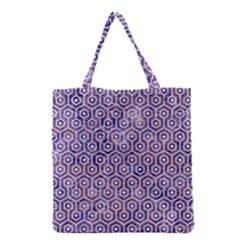 Hexagon1 White Marble & Purple Marble Grocery Tote Bag by trendistuff
