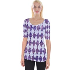 Diamond1 White Marble & Purple Marble Wide Neckline Tee by trendistuff