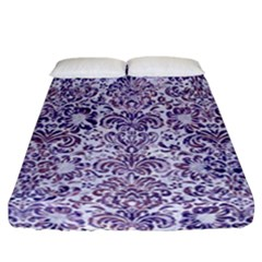 Damask2 White Marble & Purple Marble (r) Fitted Sheet (california King Size) by trendistuff