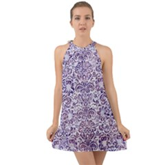 Damask2 White Marble & Purple Marble (r) Halter Tie Back Chiffon Dress