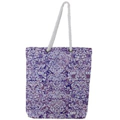 Damask2 White Marble & Purple Marble Full Print Rope Handle Tote (large) by trendistuff