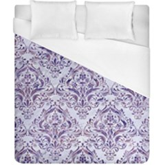 Damask1 White Marble & Purple Marble (r) Duvet Cover (california King Size) by trendistuff