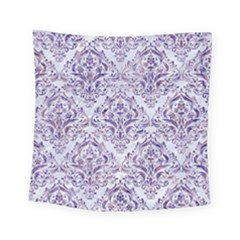 Damask1 White Marble & Purple Marble (r) Square Tapestry (small) by trendistuff