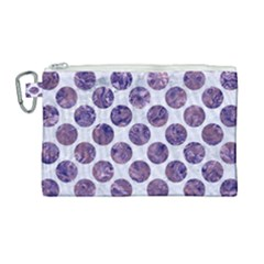 Circles2 White Marble & Purple Marble (r) Canvas Cosmetic Bag (large)
