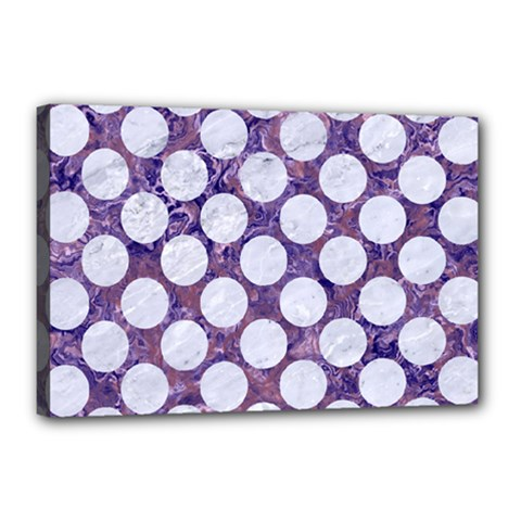 Circles2 White Marble & Purple Marble Canvas 18  X 12  by trendistuff