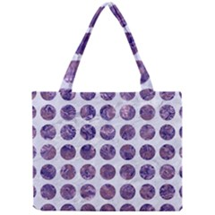 Circles1 White Marble & Purple Marble (r) Mini Tote Bag by trendistuff
