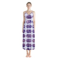 Circles1 White Marble & Purple Marble (r) Button Up Chiffon Maxi Dress by trendistuff