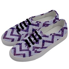 Chevron9 White Marble & Purple Marble (r) Men s Classic Low Top Sneakers by trendistuff