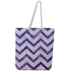 Chevron9 White Marble & Purple Marble (r) Full Print Rope Handle Tote (large) by trendistuff
