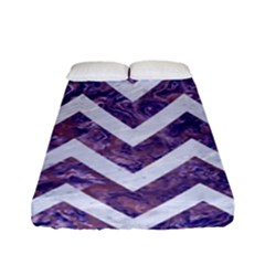 Chevron9 White Marble & Purple Marble Fitted Sheet (full/ Double Size) by trendistuff