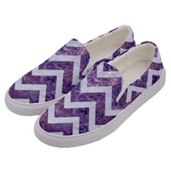 Chevron9 White Marble & Purple Marble Men s Canvas Slip Ons by trendistuff