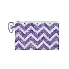 Chevron9 White Marble & Purple Marble Canvas Cosmetic Bag (small) by trendistuff