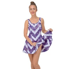 Chevron9 White Marble & Purple Marble Inside Out Dress