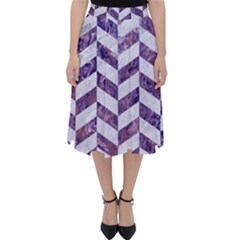 Chevron1 White Marble & Purple Marble Folding Skater Skirt