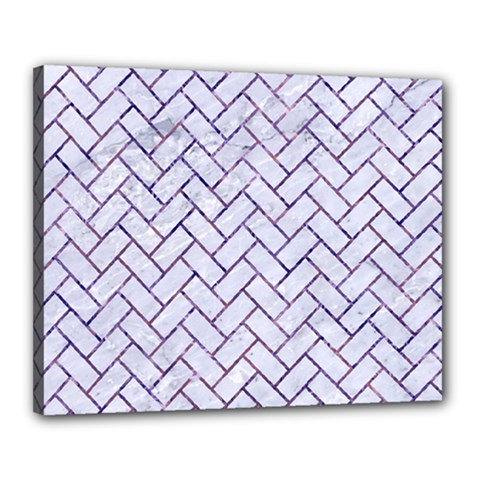 Brick2 White Marble & Purple Marble (r) Canvas 20  X 16
