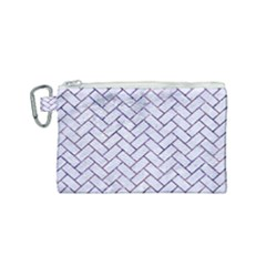 Brick2 White Marble & Purple Marble (r) Canvas Cosmetic Bag (small) by trendistuff