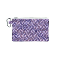Brick2 White Marble & Purple Marble Canvas Cosmetic Bag (small) by trendistuff