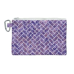 Brick2 White Marble & Purple Marble Canvas Cosmetic Bag (large) by trendistuff