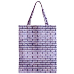 Brick1 White Marble & Purple Marble (r) Zipper Classic Tote Bag by trendistuff