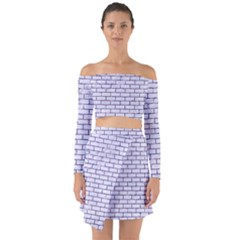 Brick1 White Marble & Purple Marble (r) Off Shoulder Top With Skirt Set