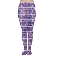Brick1 White Marble & Purple Marble Women s Tights by trendistuff