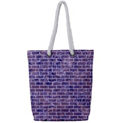 Brick1 White Marble & Purple Marble Full Print Rope Handle Tote (small) by trendistuff
