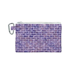 Brick1 White Marble & Purple Marble Canvas Cosmetic Bag (small) by trendistuff