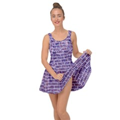 Brick1 White Marble & Purple Marble Inside Out Dress