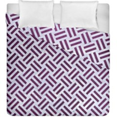 Woven2 White Marble & Purple Leather (r) Duvet Cover Double Side (king Size) by trendistuff
