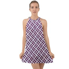 Woven2 White Marble & Purple Leather (r) Halter Tie Back Chiffon Dress