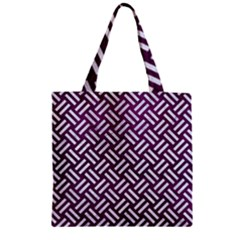 Woven2 White Marble & Purple Leather Zipper Grocery Tote Bag by trendistuff