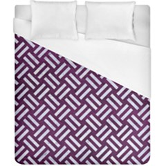 Woven2 White Marble & Purple Leather Duvet Cover (california King Size) by trendistuff
