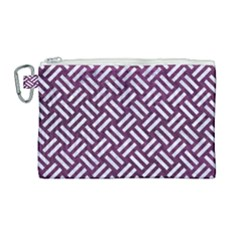 Woven2 White Marble & Purple Leather Canvas Cosmetic Bag (large) by trendistuff