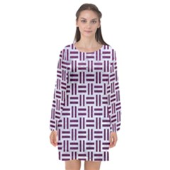 Woven1 White Marble & Purple Leather (r) Long Sleeve Chiffon Shift Dress