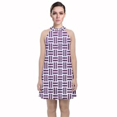Woven1 White Marble & Purple Leather (r) Velvet Halter Neckline Dress  by trendistuff