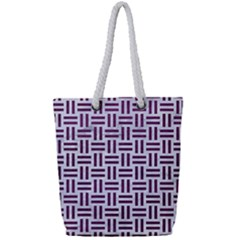 Woven1 White Marble & Purple Leather (r) Full Print Rope Handle Tote (small) by trendistuff
