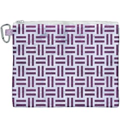 Woven1 White Marble & Purple Leather (r) Canvas Cosmetic Bag (xxxl) by trendistuff