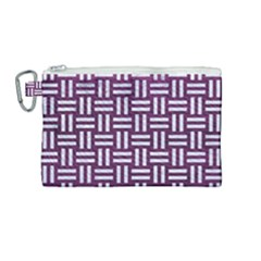Woven1 White Marble & Purple Leather Canvas Cosmetic Bag (medium) by trendistuff