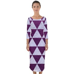 Triangle3 White Marble & Purple Leather Quarter Sleeve Midi Bodycon Dress