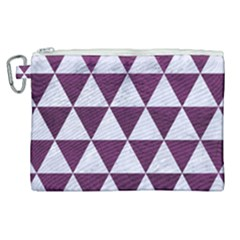 Triangle3 White Marble & Purple Leather Canvas Cosmetic Bag (xl)