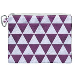 Triangle3 White Marble & Purple Leather Canvas Cosmetic Bag (xxl) by trendistuff