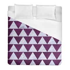 Triangle2 White Marble & Purple Leather Duvet Cover (full/ Double Size) by trendistuff