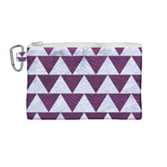 Triangle2 White Marble & Purple Leather Canvas Cosmetic Bag (medium) by trendistuff