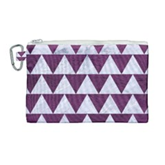 Triangle2 White Marble & Purple Leather Canvas Cosmetic Bag (large) by trendistuff