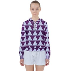 Triangle2 White Marble & Purple Leather Women s Tie Up Sweat